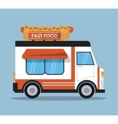 hot dog truck fast food icon graphic vector image vector image