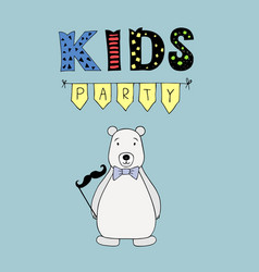 Kids party lettering party with bear vector