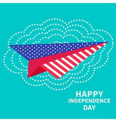 Paper plane and big cloud Dash line independence vector image vector image