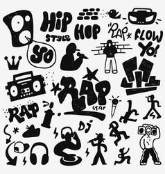 rap doodles set vector image