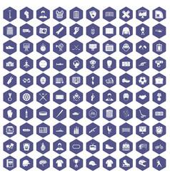 100 mens team icons hexagon purple vector image