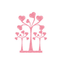 drawing pink trees heart delicate decorative vector image