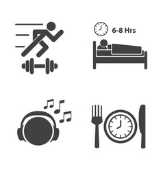 good health icons set vector image vector image