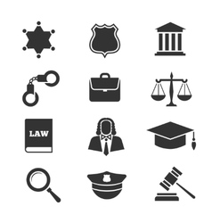 Justice law police icons vector image vector image