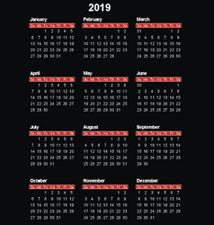 2019 calendar vector image