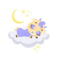 A cute cartoon goat sleeping vector