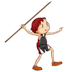 A simple sketch of a boy playing with the stick vector
