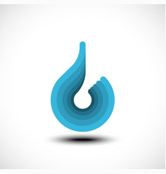 Abstract blue water drop icon vector