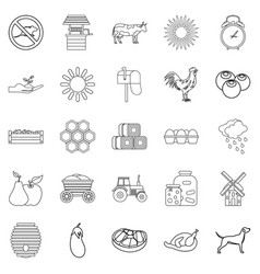 agricultural icons set outline style vector image