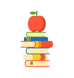 apple on stack of books apple of wisdom flat vector image