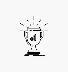 award trophy win prize first line icon isolated vector image