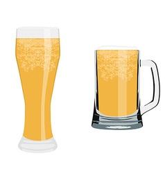 Beer glass and mug vector image