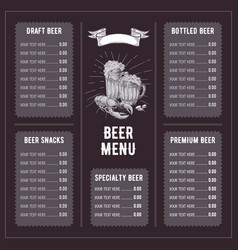 beer restaurant brochure vector image