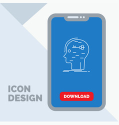 Brain hack hacking key mind line icon in mobile vector