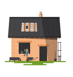 building a new family house construction vector image