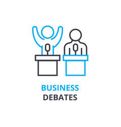Business debates concept outline icon linear vector