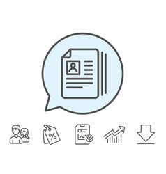 Business recruitment line icon cv documents vector