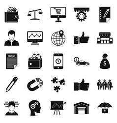 Business start up icons set simple style vector
