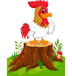 Cartoon chicken rooster on tree stump vector