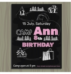 chalk board invitation for birthday on the camp vector image