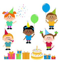 children birthday party cake and presents vector image