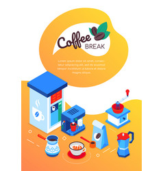 coffee break - modern colorful isometric web vector image