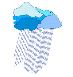 colored cartoon funny blue sky with raindrops vector image