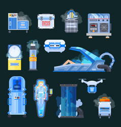 cryonics human organs transplantation icons vector image