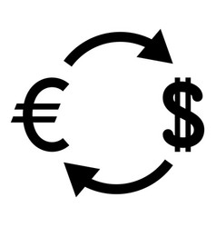 currency exchange icon black color flat style vector image