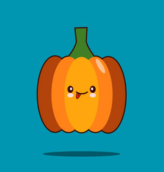 cute vegetable cartoon character pumpkin icon vector image