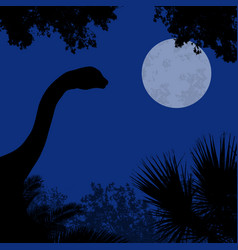 dinosaur silhouette on beautiful forest vector image