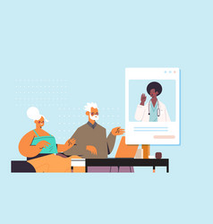 Doctor in web browser window consulting senior vector