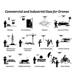 Drone usage and applications for commercial vector
