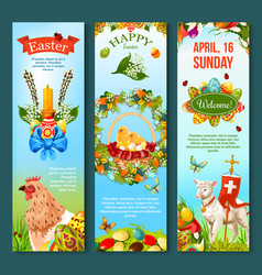 easter sunday celebration banner template set vector image