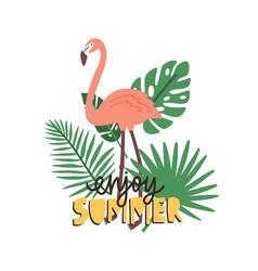 enjoy summer slogan handwritten with calligraphic vector image