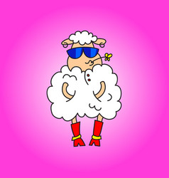 Fashionable lamb in red boots and blue glasses vector