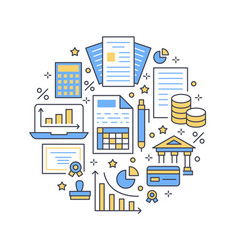 financial accounting circle poster flat line icons vector image
