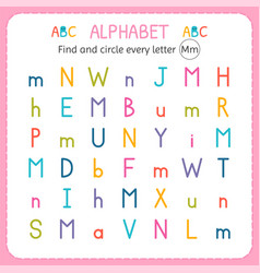 Find and circle every letter m worksheet vector