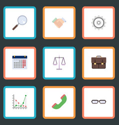 Flat icons libra portfolio magnifier and other vector