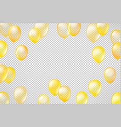 flying golden transparent balloons on transparent vector image