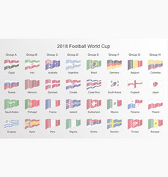 Football world cup 2018 flag line flag icon isola vector