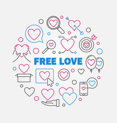 free love round in thin line vector image