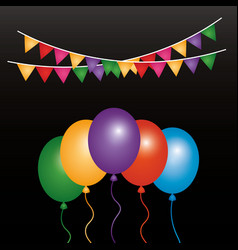 Glowing bunch balloons and garlands decoration vector