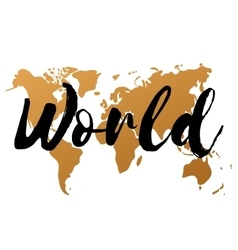 Gold world map on white background doodle vector