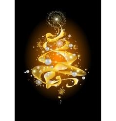 Golden abstract christmas tree vector
