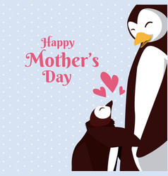 happy mothers day penguin cartoon vector image