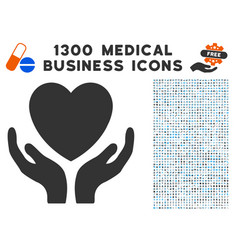 heart care hands icon with 1300 medical business vector image