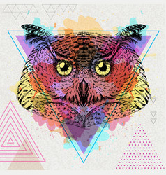 Hipster bird owl on artistic polygon watercolor vector
