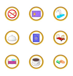 hotel pack icons set cartoon style vector image