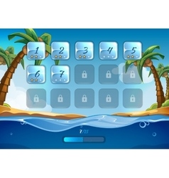 Island game background with user interface UI in vector image